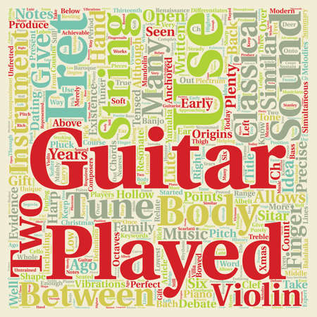Classical Guitar text background wordcloud concept
