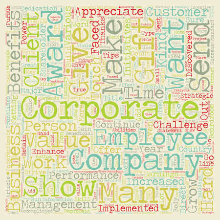 implemented: Are Corporate Awards and Corporate Gifts Beneficial for your Business text background wordcloud concept