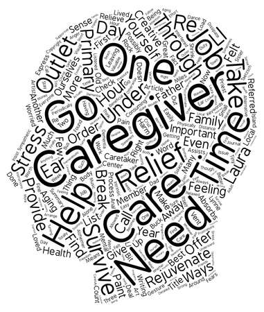 How to Survive as a Primary Caregiver text background wordcloud concept Illustration