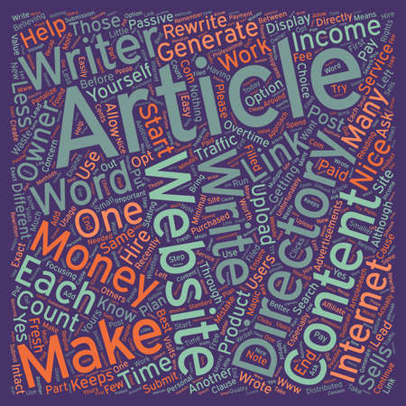 owner money: How to Make Money with Article Directories text background wordcloud concept Illustration
