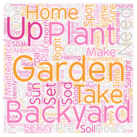 unwind: How To Set Up A Backyard Garden text background wordcloud concept