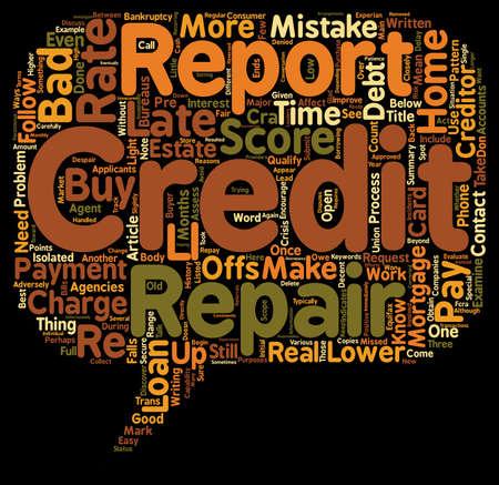 Jak naprawić swój kredyt i kupić tekstowy główna wordcloud koncepcję Ilustracje wektorowe