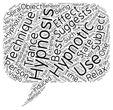 induced: Hypnotism Techniques text background wordcloud concept