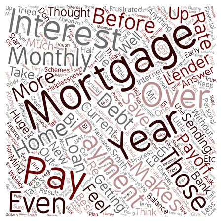 clouds making: How To Pay Off Your 30 Year Mortgage In 12 Years text background wordcloud concept Illustration