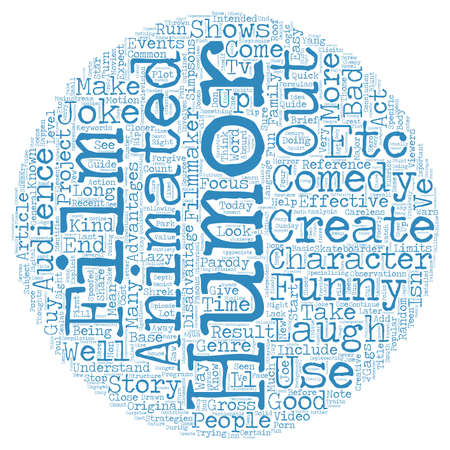 comedy background: Common Strategies of Animated Comedy text background wordcloud concept Illustration
