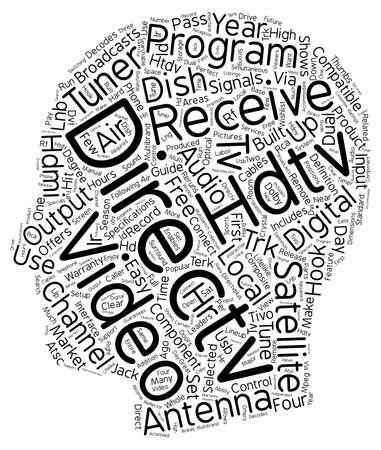 hdtv: directv hdtv receiver text background wordcloud concept Illustration