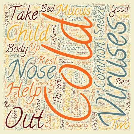 common cold: Common Cold in Children 1 text background wordcloud concept