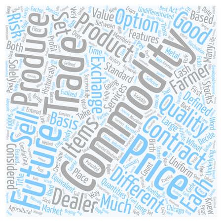 commodities: Materias Primas Una wordcloud concepto de fondo Resumen de textos Vectores