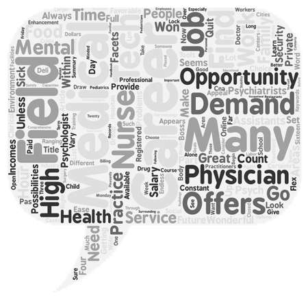medical field: Great Careers In The Medical Field text background wordcloud concept Illustration