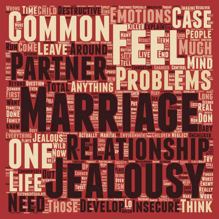 celos: Problemas comunes matrimonio celos wordcloud concepto de fondo de texto