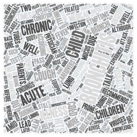 bronchitis: bronchitis child text background wordcloud concept Illustration