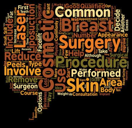 procedures: Common Cosmetic Surgery Procedures text background wordcloud concept Illustration