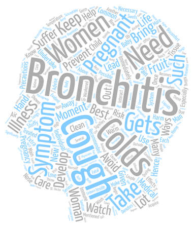 bronchitis: bronchitis and pregnancy text background wordcloud concept