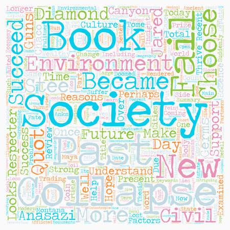 derrumbe: Reseña del libro de Colapso Por qué unas sociedades perduran y otras desaparecen texto concepto de fondo wordcloud