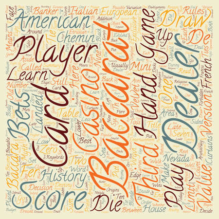 american history: Baccarat History and American Baccarat Rules text background wordcloud concept