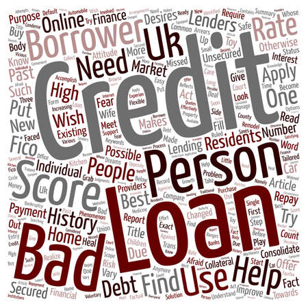 lenders: Bad Credit Personal Loan A changed attitude of lenders towards bad credit text background wordcloud concept