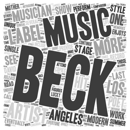 beck: Beck A Modern Musician And Poet Returns To The Stage text background wordcloud concept