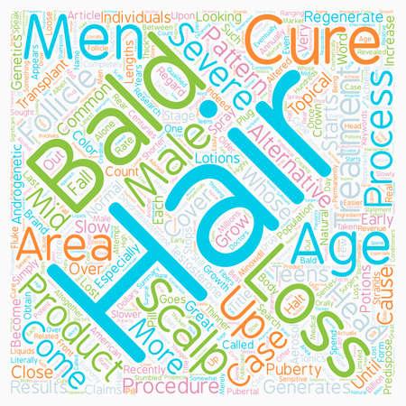 calvicie: La calvicie curas y tratamientos de wordcloud concepto de fondo de texto