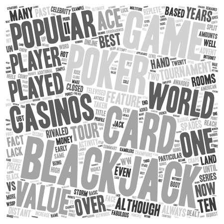 blackjack: Blackjack vs Poker text background wordcloud concept