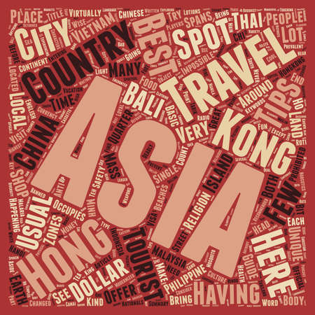 Asia Safety Travel Tips text background wordcloud concept Ilustração