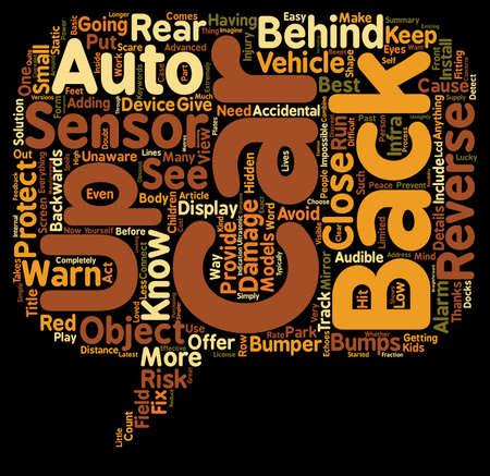 reversing: Back Up Auto Sensor text background wordcloud concept