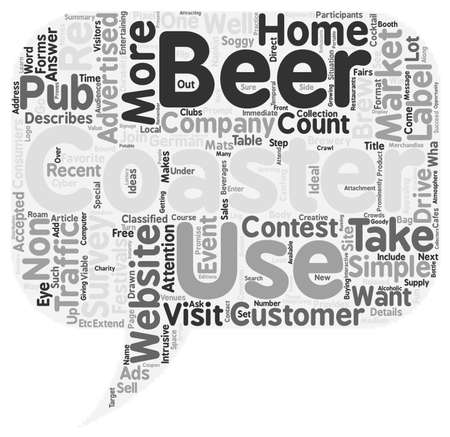 visitors: Beer Coasters Will Drive Visitors To You text background wordcloud concept