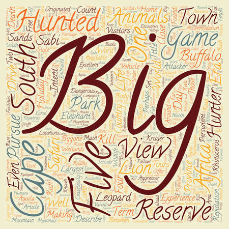 big five: Big Five Animals In South Africa text background wordcloud concept Illustration