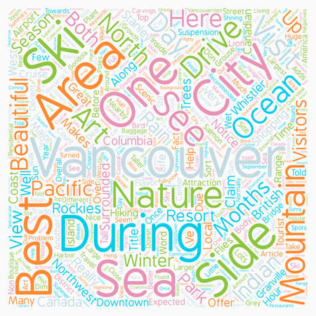 vancouver city: Beautiful Vancouver City of the Sea Mountains text background wordcloud concept