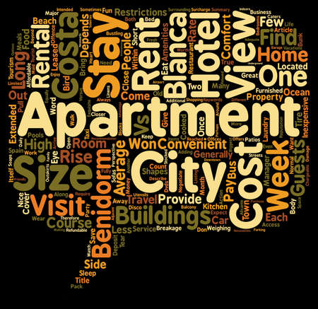 come: Benidorm Apartments Your Home Away From Home text background wordcloud concept