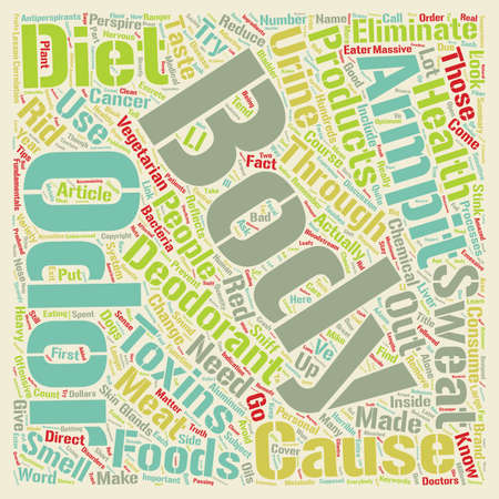 odor: Body odor can be eliminated through a change in diet text background wordcloud concept