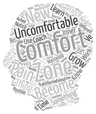 comfortable: Become Comfortable with the Uncomfortable text background wordcloud concept