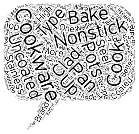 uncoated: Basic Cookware Explained text background wordcloud concept