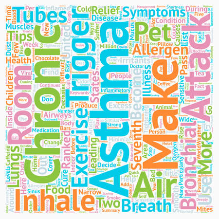 breathe easy: Breathe Easy Some Asthma Relief Tips text background wordcloud concept Illustration