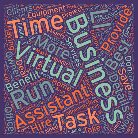 Benefits of Virtual Assistance text background wordcloud concept