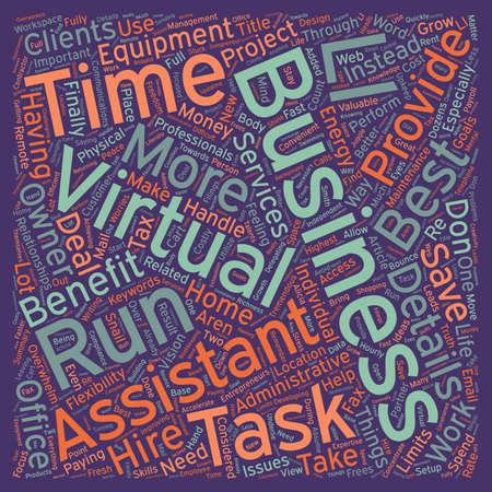Vantaggi di Virtual Assistance testo wordcloud sfondo
