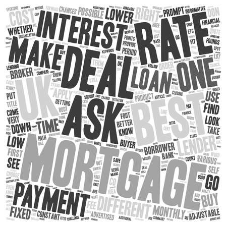 lowering: Best mortgage deal UK put your best foot forward text background wordcloud concept