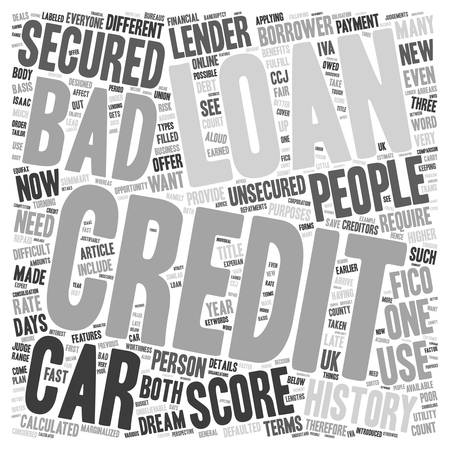 opportunity concept: Bad Credit Car Loans An Unbelievable Opportunity text background wordcloud concept
