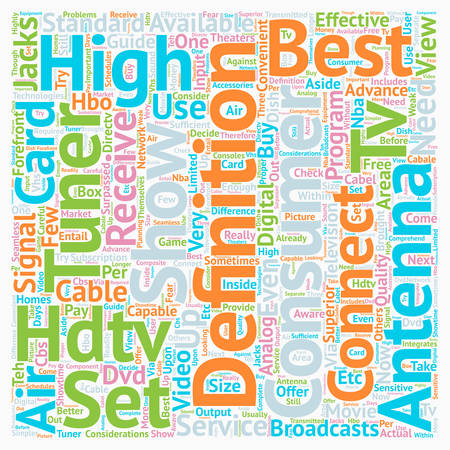 hdtv: best hdtv antenna text background wordcloud concept