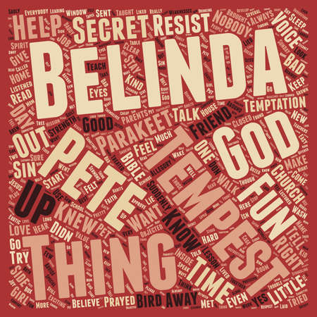 knew: Belinda and Tempest text background wordcloud concept