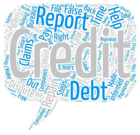outrageous: Credit Repair Steps text background word cloud concept