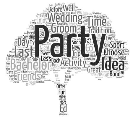 Bachelor Party Ideas Word Cloud Concept Text Background Çizim