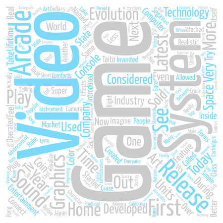 first video game system text background wordcloud concept