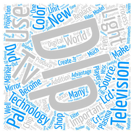 acronyms: Features and Benefits of DLP TVs text background word cloud concept