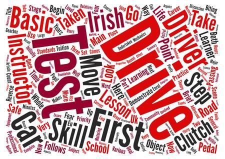 Erste Schritte für den irischen Learner Treiber Text Hintergrund Wort Cloud-Konzept