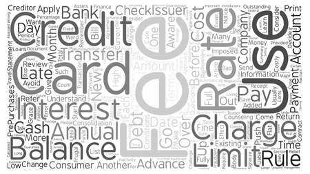 issuer: CREDIT CARDS Rules and Fees text background word cloud concept Illustration