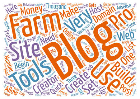 make summary: Blog Farm Pro Review text background word cloud concept
