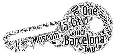 Beautiful BARCELONA Easy Travel Guide Word Cloud Concept Text Background