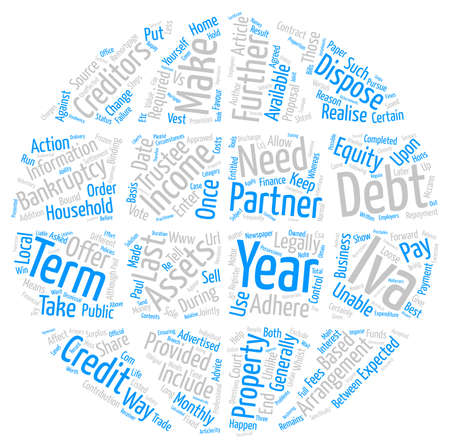 Debt Help Advice IVA vs Bankruptcy text background word cloud concept Illustration