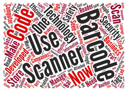 Developments In The Barcode Tags And Scanners Industry text background word cloud concept