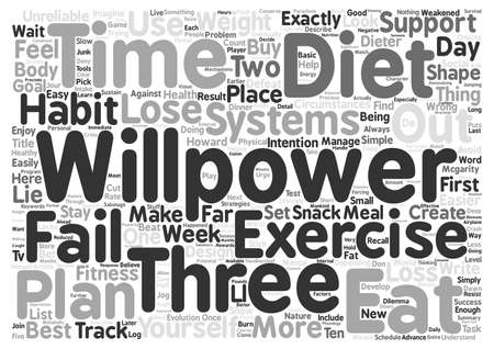 fails: Beat the Dieter s Dilemma What to Do When Willpower Fails text background word cloud concept